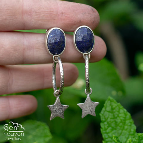 Starry,Night,Hoops,Lapis lazuli earrings, Lapis lazuli, hoop earrings, sterling silver, silver dangle earrings, hammered hoops, teardrop earrings, cornish jewellery, cornish jeweller, uk made, boho style, bohemian chic