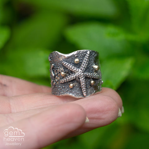 Coastal,rustica,ring,coastal, beach, starfish, cuff ring, gold and silver,  design, art, jewellery, cornish jewellery, bohemian jewellery