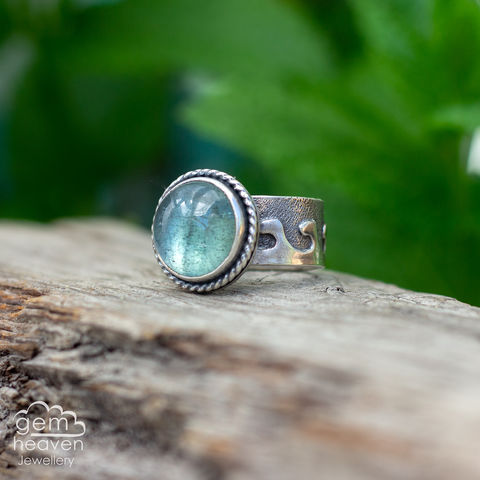 Stormy,Waters,Ring,wave ring,Aquamarine ring, cocktail ring,  wide band ring, sterling silver, rustic silver, ocean ring, boho style, bohemian ring, cornish jeweller, cornish jewellery, hand made, hand crafted, uk made, hallmarked silver