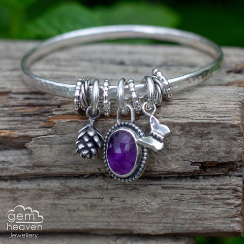 Spinner,of,Yarns,bangle,charm bangle,  succulent cast flower , charm bangle,Amethyst, purple gemstone, rustic silver, sterling silver, uk made, boho style, cornish jewellery, cornish jeweller, bohemian jewellery, gypsy style,