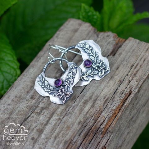 Free,Spirit,Earrings,bohemian earrings, moroccan flair, dangle earrings, sterling silver,  Amethyst, leaves, silver dangle earrings, hammered hoops, Labradorite earrings, cornish jewellery, cornish jeweller, uk made, boho style, bohemian chic