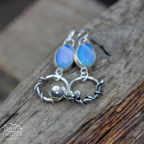 Blooming,Earrings,flower earrings, opalite earrings ,  hoop earrings, sterling silver, , silver dangle earrings, hammered hoops, Labradorite earrings, cornish jewellery, cornish jeweller, uk made, boho style, bohemian chic