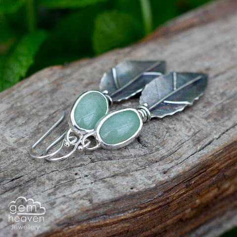 Brigid,Series,Earrings,Leaf earrings, gemstone earrings ,Adventurine earring, sterling silver, leaf earrings, silver dangle earrings, hammered hoops, e earrings, cornish jewellery, cornish jeweller, uk made, boho style, bohemian chic