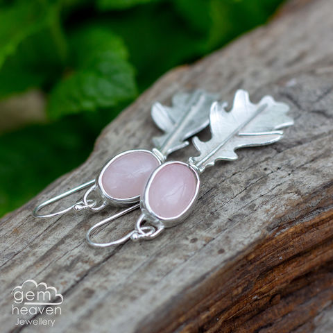Dryad,Earrings,Leaf earrings, gemstone earrings ,  Rose Quartz earrings, sterling silver, oakleaf earrings, silver dangle earrings, hammered hoops, Labradorite earrings, cornish jewellery, cornish jeweller, uk made, boho style, bohemian chic