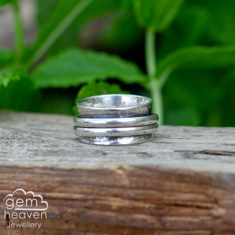 Fidgety,Ring,spinner ring,fidget ring, worry ring, wide band ring, sterling silver, rustic silver,  boho style, bohemian ring, cornish jeweller, cornish jewellery, hand made, hand crafted, uk made, hallmarked silver