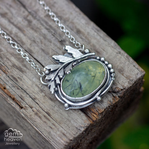 Unfurling,Necklace,with,prehnite,Prehnite  pendant, fern necklace, small stone pendant, sterling silver,  gemstone, boho style, uk made, silver and gemstone, cornish jewellery, cornish silver jewellery,