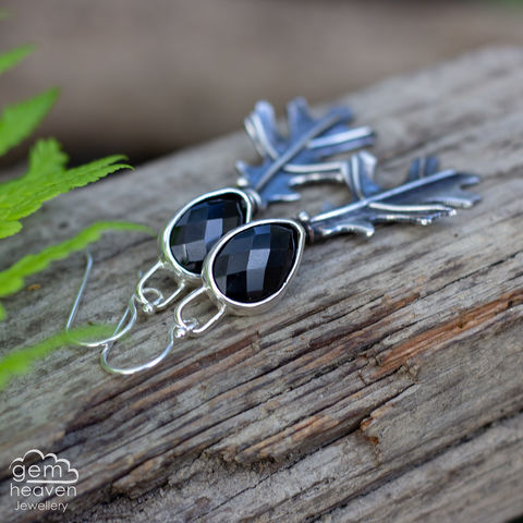 Dryad,Earrings,Leaf earrings, gemstone earrings ,  Black Onyx earrings, sterling silver, oakleaf earrings, silver dangle earrings, hammered hoops, Labradorite earrings, cornish jewellery, cornish jeweller, uk made, boho style, bohemian chic