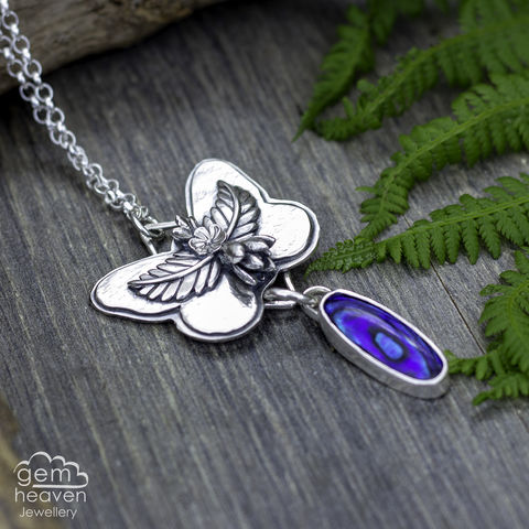 Metamorphisis,Butterfly necklace, blue Paua sheell, cast flowers, sterling silver, silver necklace, cornish jewellery, cornish jeweller, uk made, boho style, bohemian chic