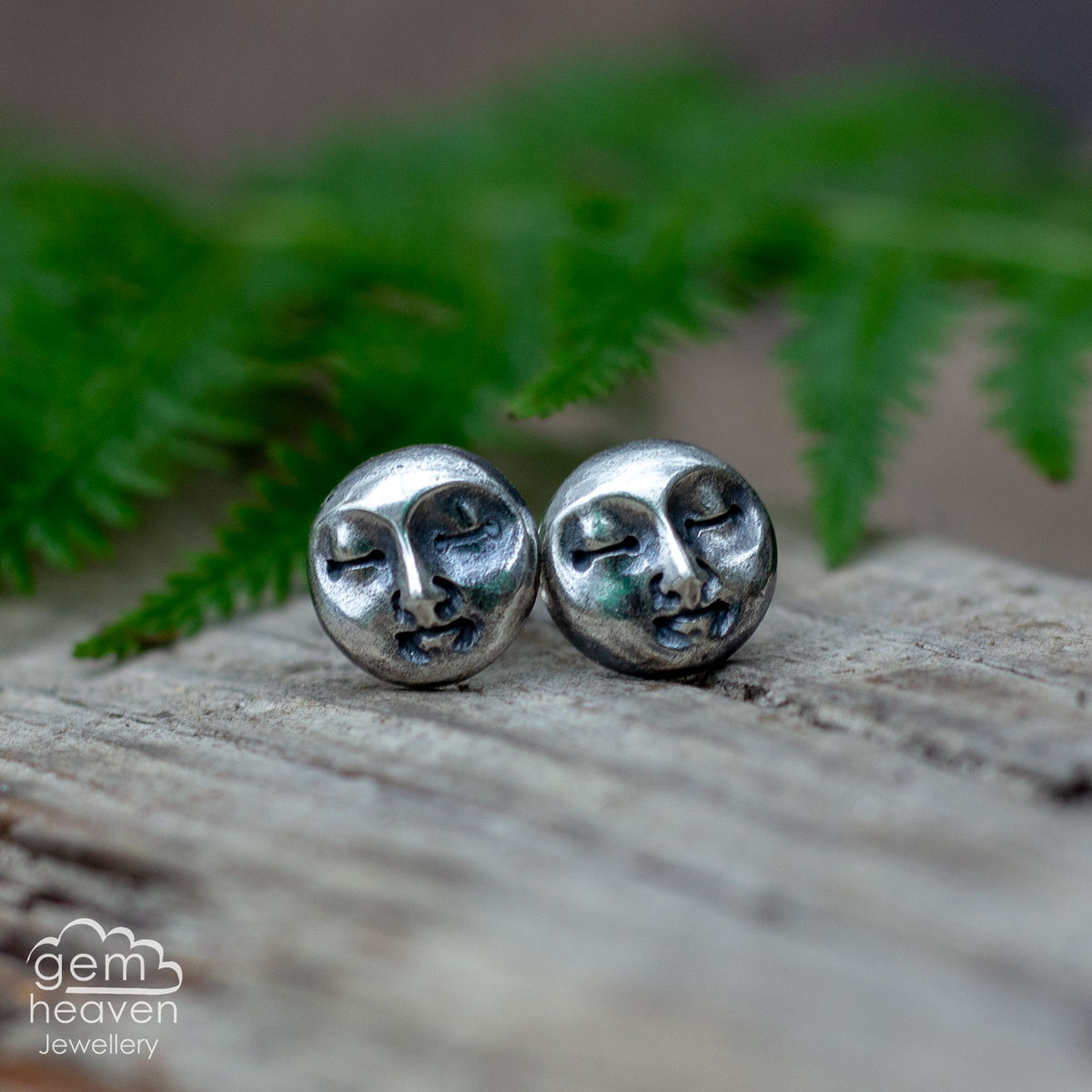 Moon face post earrings - product images  of