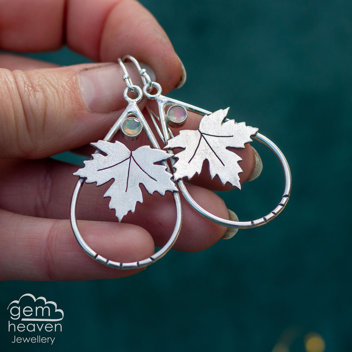Clarity Earrings with Sycamore leaves - product image