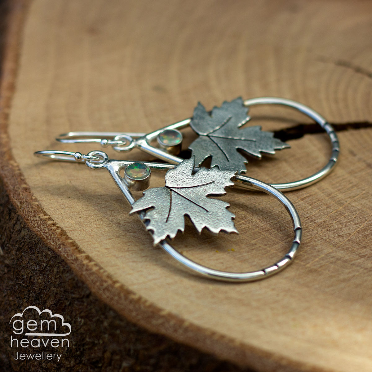 Clarity Earrings with Sycamore leaves - product images  of