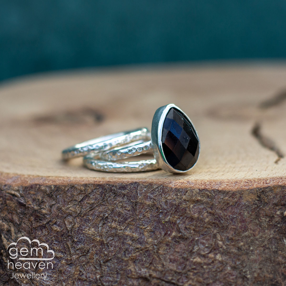 Alchemy Stacking set with rose cut black onyx - product images  of