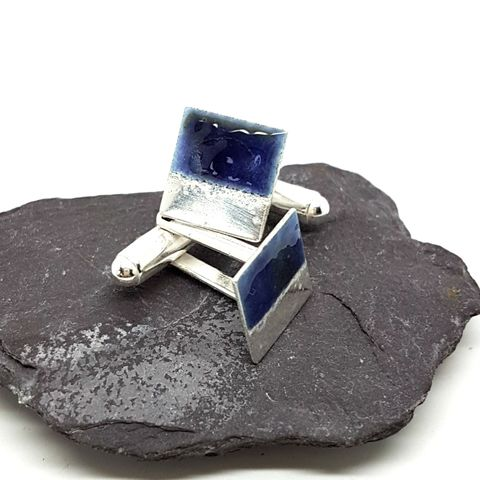 Sterling,Silver,and,Purple,Enamel,Cufflinks,purple enamel cufflinks, sterling silver and enamel cufflinks, purple, geometric cufflinks, square cufflinks, mens jewellery, mens accessories, silver and enamel jewelry,  fashion accessories, enameled jewellery