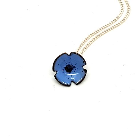 Blue,Poppy,Flower,Pendant,blue enamel poppy flower necklace, pendant, wedding jewellery, flower jewellery, handmade enamel jewellery, copper enamel, light blue poppy, rememberance jewelry, forget-me-nots, bridesmaids gifts, mothersday gift