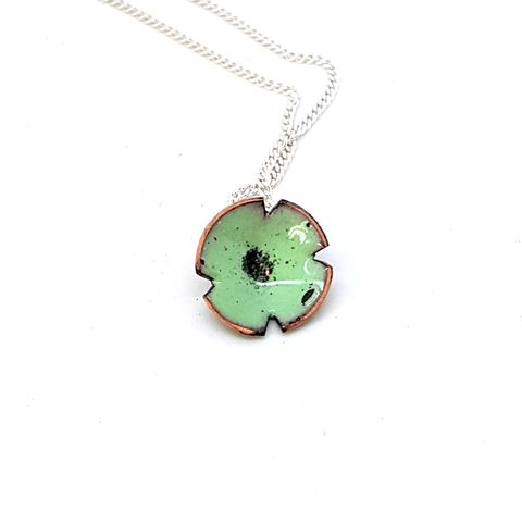 Green,Poppy,Flower,Pendant,green enamel poppy flower necklace, pendant, wedding jewellery, flower jewellery, handmade enamel jewellery, copper enamel, robins egg blue poppy, rememberance jewelry, bridesmaids gifts, mothersday gift