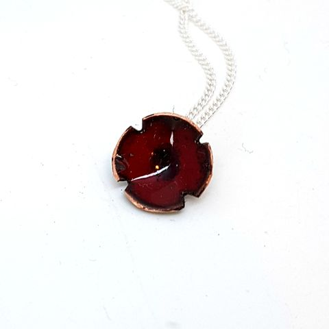 Dark,Red,Poppy,Flower,Pendant,red enamel poppy flower necklace, pendant, wedding jewellery, flower jewellery, handmade enamel jewellery, copper enamel,maroon poppy, rememberance jewelry, bridesmaids gifts, mothersday gift