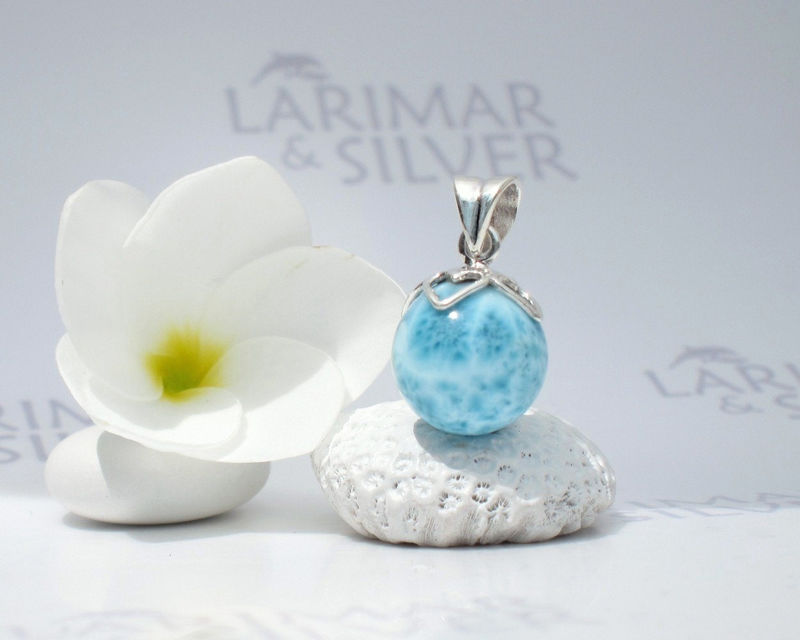 SOLD OUT - Larimarandsilver pendant, Mermaid Berry 2 - denim blue Larimar ball, sapphire blue, Atlantis stone, turtleback, handcrafted Larimar pendant - product images  of