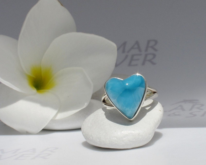 SOLD OUT - Larimarandsilver ring size 6, Shades of Love 2 - peacock blue Larimar heart, AAA Larimar, turtleback, Atlantis stone, handmade larimar ring - product images  of
