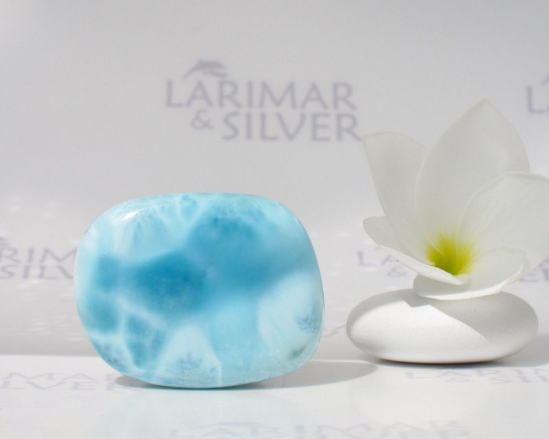 SOLD OUT - Meditation stone by Larimarandsilver, Calming Waters - aqua Larimar stone, water blue, Reiki, pebble, fifth chakra, handcut Larimar stone - product images  of