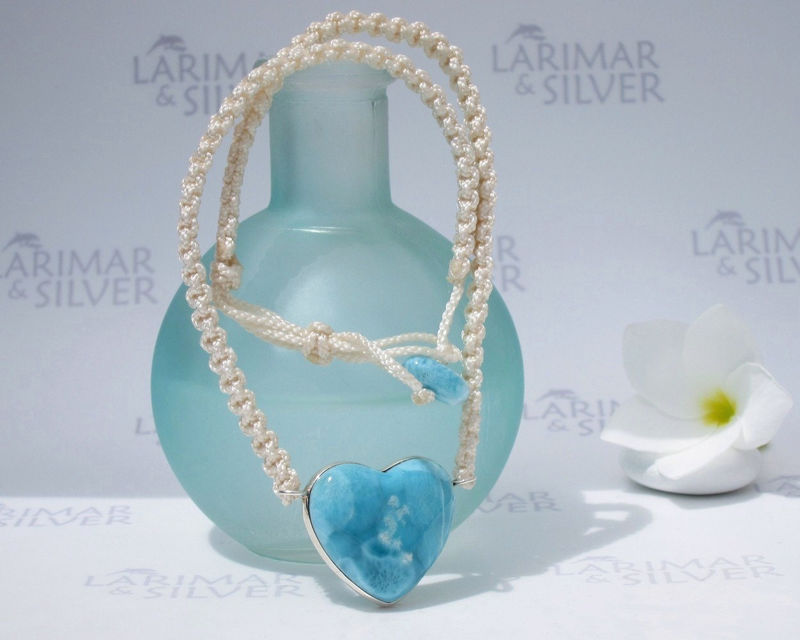 Larimar necklace by Larimarandsilver, Spirit of Love - deep blue Larimar heart, siren heart, navy blue, blue heart, handmade heart necklace - product images  of