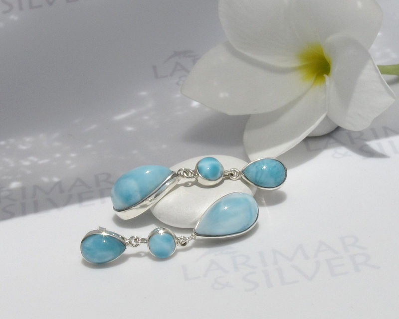 SOLD OUT - Larimarandsilver earrings, Summer Glam 3 - sky blue Larimar drops, topaz blue, rain drops, water blue, ice blue, handmade Larimar earrings - product images  of