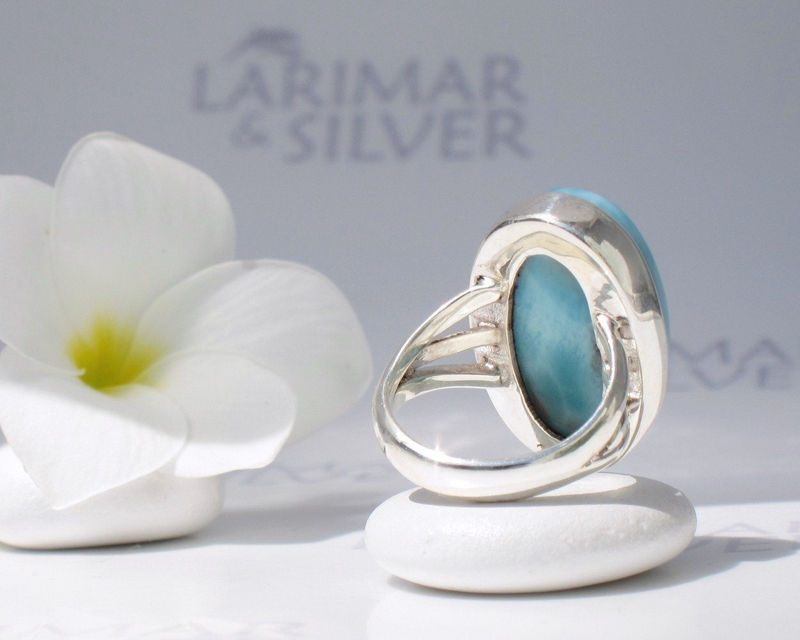 SOLD OUT - Larimarandsilver ring size 7, Caribbean Swims - azure blue Larimar oval, Swiss blue, turquoise ring, topaz blue oval, handmade Larimar ring - product images  of