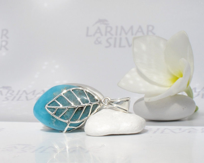 Larimarandsilver pendant, Fruit of the Secret Wisdom - deep blue Larimar stone, volcanic blue, sapphire blue almond handmade Larimar pendant - product images  of