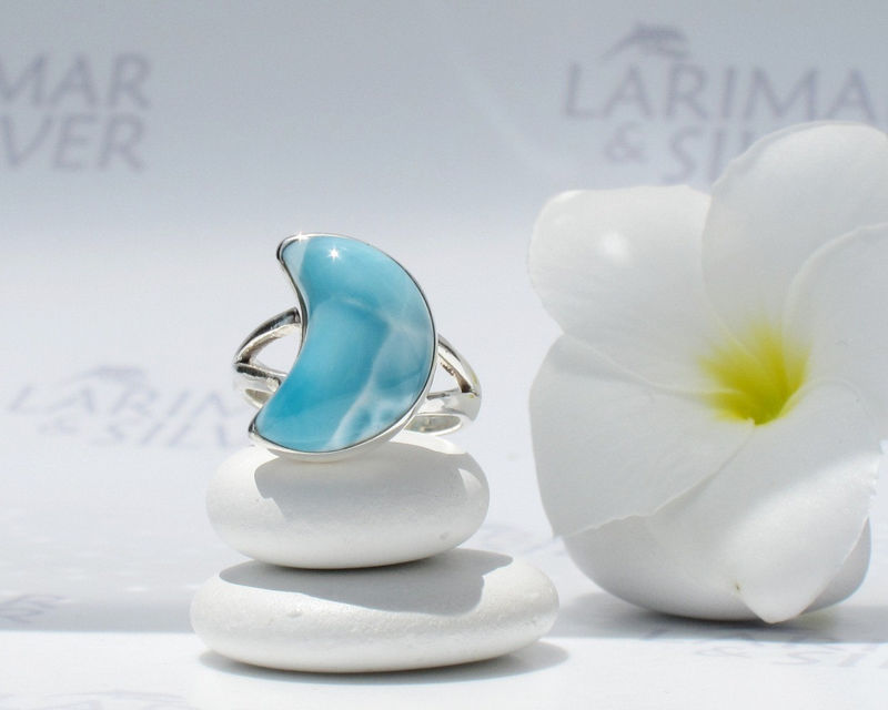 SOLD OUT - Larimarandsilver ring size 6.5, Mermaid Honeymoon, turquoise Larimar crecent, blue moon ring, sky blue, blue crescent, handmade Larimar ring - product images  of