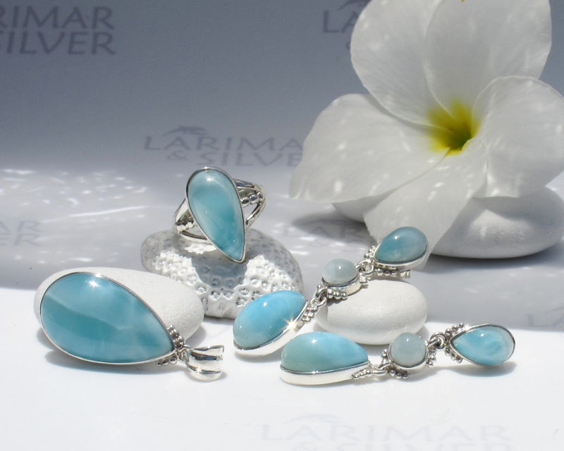 Larimar set by Larimarandsilver, Aquamarine Glamour - aqua Larimar drops, sea drops, Atlantis stone, handmade Larimar ring pendant earrings - product images  of