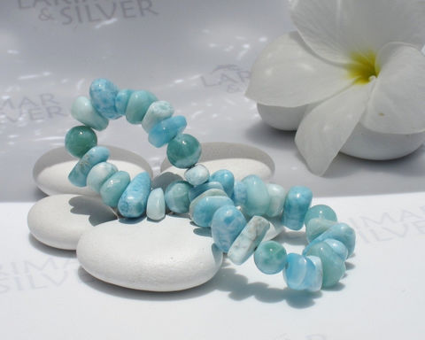 "Larimar,stretch,bracelet,by,Larimarandsilver,,The,Casual,Mermaid,15,-,pastel,blue,mixed,beads,,sea,blue,,handmade,size,7"",Jewelry,Bracelet,Larimar_bracelet,Larimar_beads,larimar_etsy,Atlantis_stone,stretch_bracelet,aqua_bracelet,sea_blue_bracelet,blue_bead_bracelet,beach_bracelet,Larimar_stretch,dolphin_stone,healing_bracelet,fifth_chakra,aka Pectolite,aka Atlantis s"