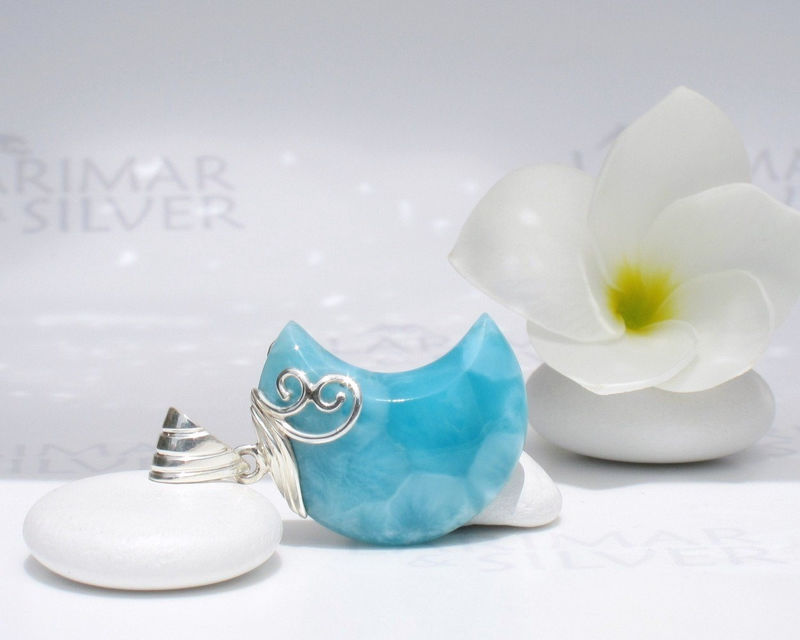 SOLD OUT - Peacock Moon - Handmade Larimar moon pendant 925 silver - product images  of