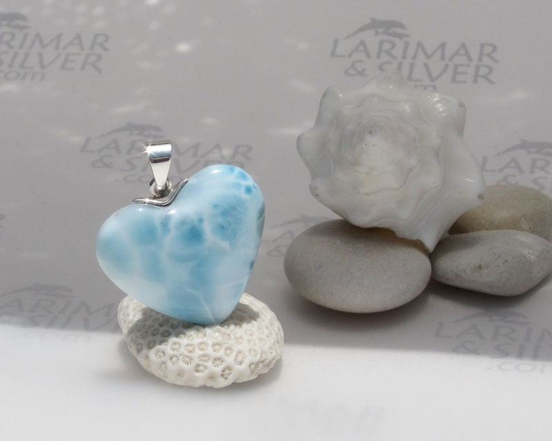 Larimarandsilver pendant, Waterfall of Love - aqua Larimar heart, river blue heart, fairy heart, rushing water, handcrafted Larimar pendant - product images  of