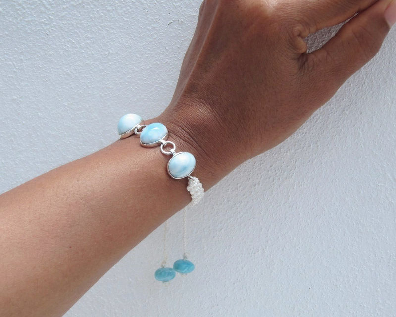 Larimar and silver bracelet in macrame, I Want to be a Mermaid 2 - aqua Larimar ovals, azure topaz blue adjustable handmade Larimar bracelet - product images  of