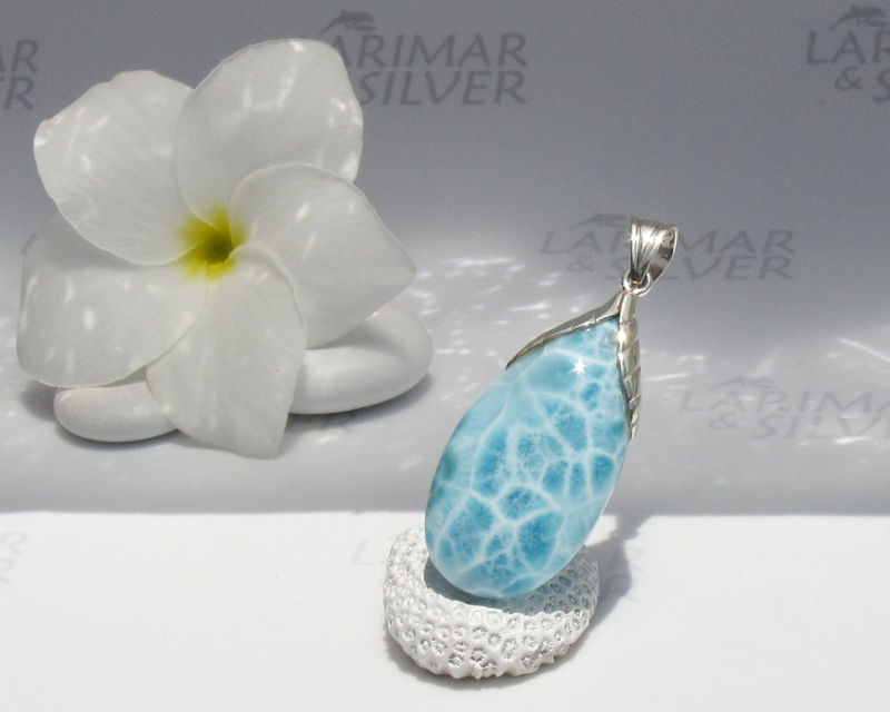 SOLD OUT  - Larimarandsilver pendant Secret of the Gods - aqua Larimar drop, turtleback, crystal drop, water element, sky blue, handmade Larimar pendant - product images  of