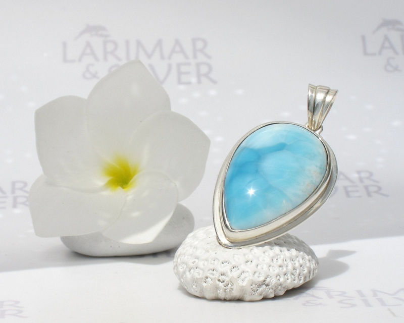SOLD OUT - Larimarandsilver pendant, Motherhood - bright sky blue Larimar pear, topaz blue, baby blue, Swiss blue, blue stone, handmade Larimar pendant - product images  of