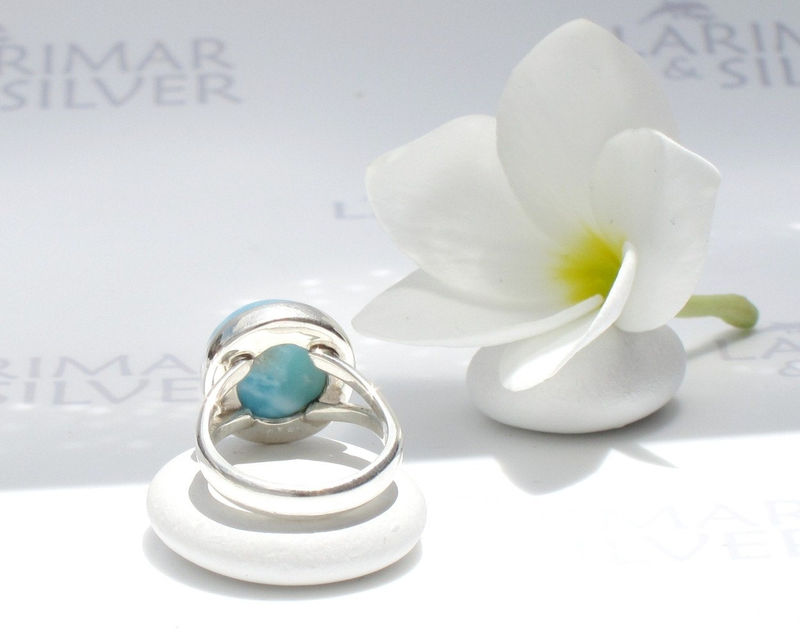 SOLD OUT - Larimarandsilver ring size 6.5, Pool of the Gods - deep blue Larimar round ring, denim blue, peacock blue ring, handcrafted Larimar ring - product images  of