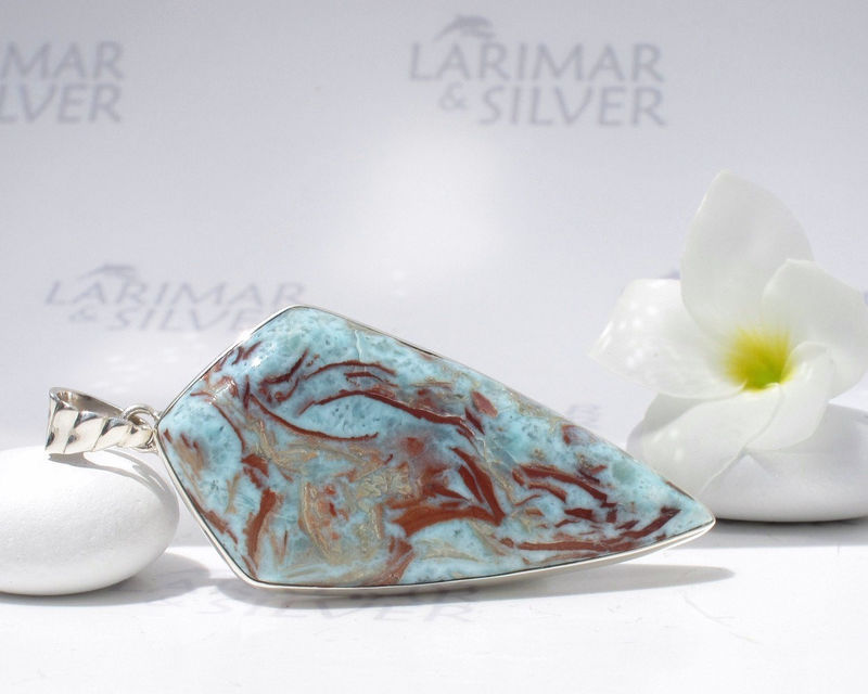 "SOLD OUT - Larimarandsilver pendant, Art of Gaia - ""cave painting"" look alike Larimar, tribal pendant, marbled, Great Mother, handmade Larimar pendant - product images  of"