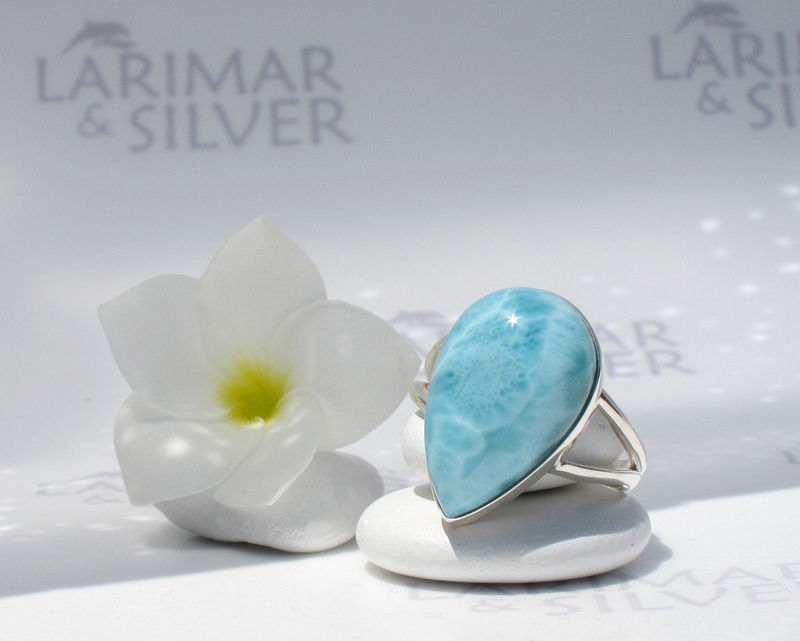 SOLD OUT - Larimarandsilver ring size 12, Turquoise Ocean - underwater blue Larimar pear, turquoise larimar, Atlantis stone ring, handmade Larimar ring - product images  of