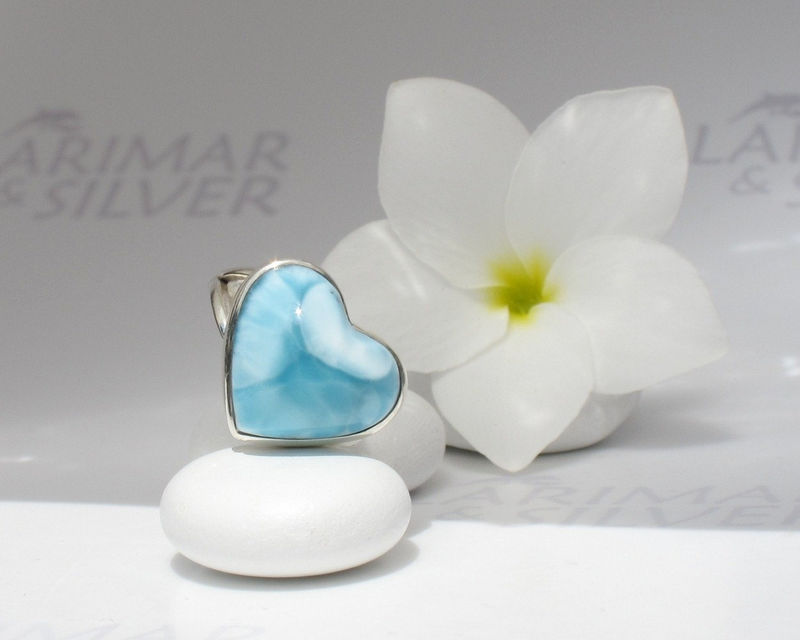 SOLD OUT - Larimar ring size 6.5, I Love Orca - navy blue Larimar heart, blue heart ring, London blue, dolphin stone, handcrafted Larimar ring - product images  of