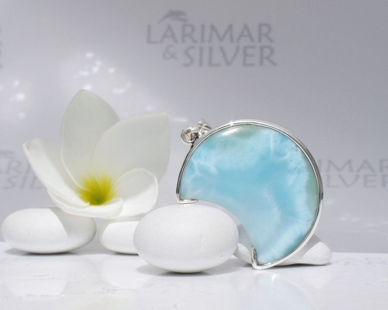 SOLD OUT - Larimar moon by Larimarandsilver, Moon Alchemy - translucent sea blue Larimar crescent, aquamarine moon, sea moon, handmade Larimar pendant - product images  of