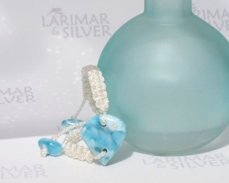 "Larimar bracelet, Larimar Energy 8 - marbled blue Larimar stone, turtleback, healing stone, Larimar macrame bracelet, adjustable 6.5 to 8.5"" - product images  of"