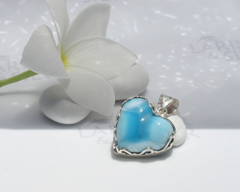 SOLD OUT - Larimarandsilver pendant, Armored Heart, powder blue Larimar heart, azure heart, cobalt blue, sky blue, fairy heart handmade Larimar pendant - product images  of