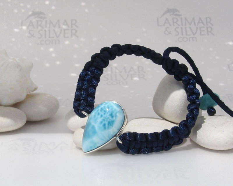 Larimar bracelet in macrame by Larimarandsilver, To the Waterfall - sparkling aqua blue Larimar pear, bruising water, adjustable, handmade - product images  of