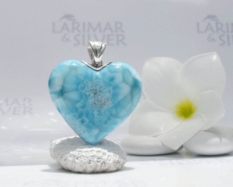 SOLD OUT - Larimar pendant, Mantra of Love - turquoise Larimar heart, love mantra, turtleback, Caribbean turquoise, handmade Larimar pendant - product images  of