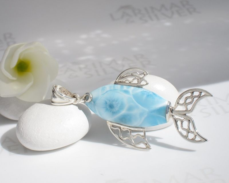 SOLD OUT - Beautiful carp shaped Larimar pendant - Blue Koi - product images  of