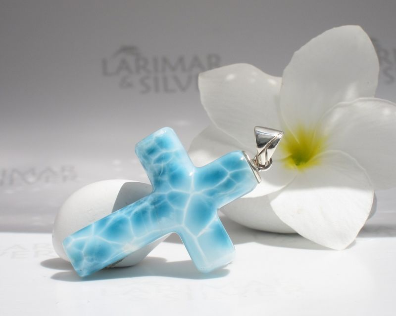 SOLD OUT - AAA Larimar cross pendant - Ocean of Prayers - product images  of
