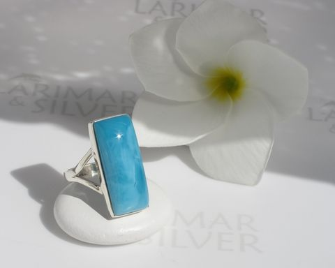 SOLD,OUT,-,Larimar,ring,size,7,Ocean,View,Larimar ring, rectangle ring, Larimar rectangle, blue rectangle, sapphire rectangle, deep blue larimar, navy blue rectangle, blue stone rectangle, Larimar tile, turtleback, blue tile ring, AAA jewelry, blue window, ocean view, ocean window, blue pool, Lar