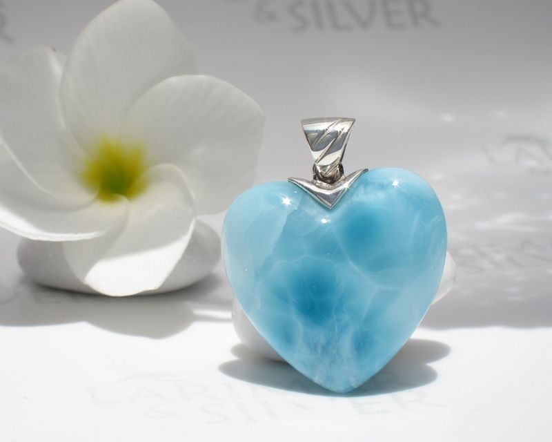 SOLD OUT - AAA Larimar heart pendant - Heart of Venus  - product images  of