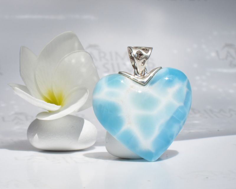 SOLD OUT - Reversible Larimar heart pendant - The Pure Soul of Aphrodite  - product images  of