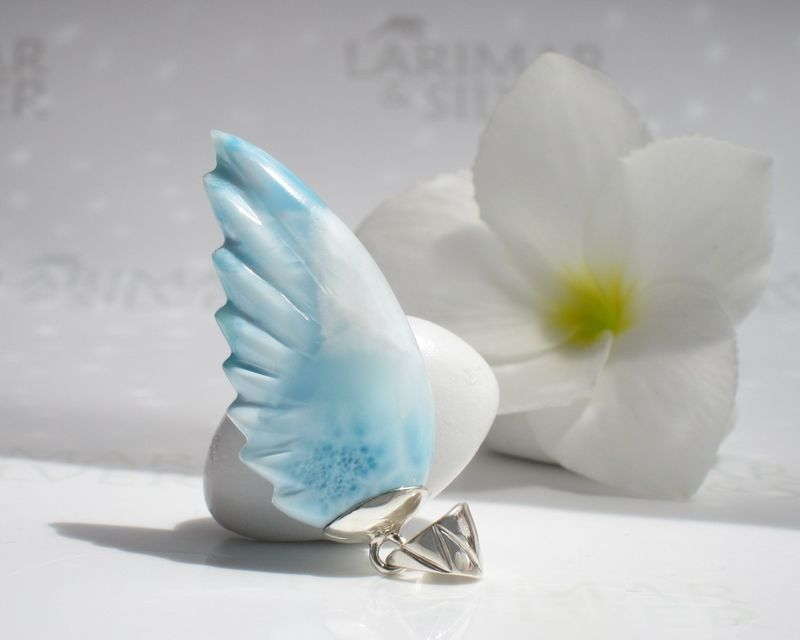 SOLD OUT - Larimar wing pendant - The Lightness of my Soul  - product images  of